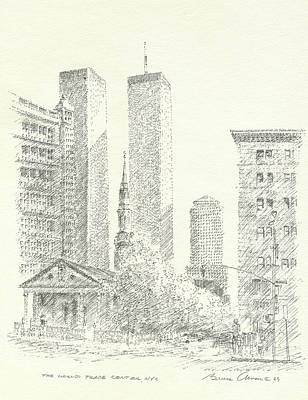 New York City Skyline Drawing - World Trade Center by Bruce Arvon