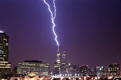 World Trade Center Lightning Full Shot Original by Sean Gautreaux