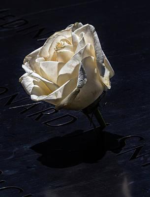 Photograph - World Trade Center Memorial - Rose by Robert Ullmann