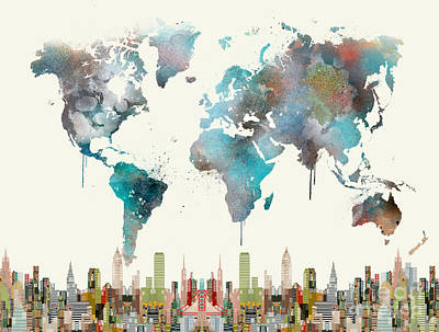 Painting - World Travel Map by Bleu Bri