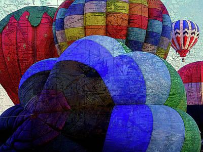Hot Air Balloon Mixed Media - World Traveler by Bonnie Bruno