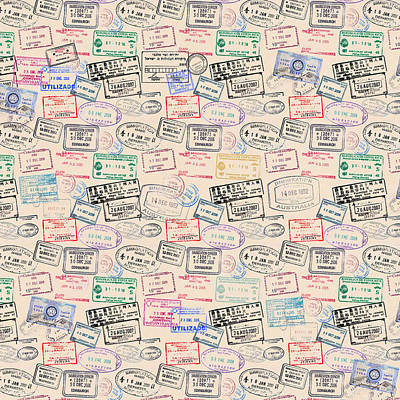 Mixed Media - World Traveler Passport Stamp Pattern - Antique White by Mark Tisdale