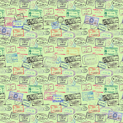 Mixed Media - World Traveler Passport Stamp Pattern - Mint Green by Mark Tisdale