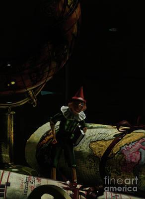 World Traveler Pinocchio Original by Kelly Borsheim