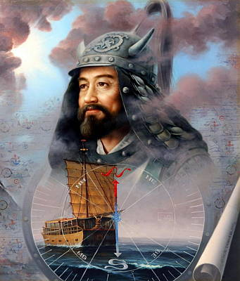 Korea Painting - World Unification Blue Or Sea Captain by Yoo Choong Yeul