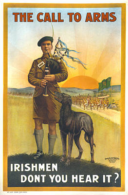 Bagpipes Photograph - World War I, Irish Military Recruitment by Everett