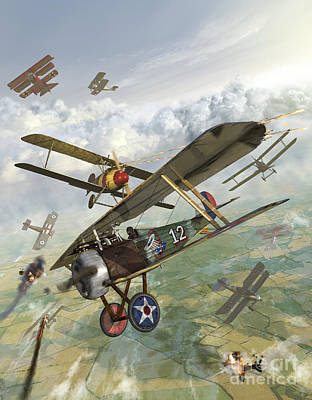 Transportation Royalty-Free and Rights-Managed Images - World War I U.s. Bi-plane Attacking by Kurt Miller