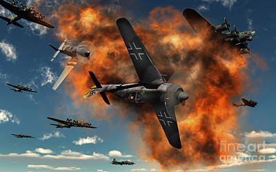 Inferno Digital Art - World War II Aerial Combat by Mark Stevenson