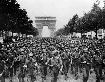 World War II American Troops Marching Print by Everett