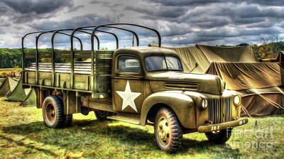 Ford Watercolor Photograph - World War II Army Truck by Roy Branson