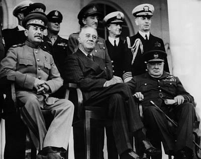 Stalin Photograph - World War II. From Left, Front Row by Everett