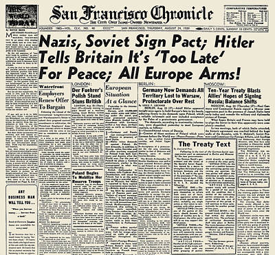 Photograph - World War II: Headline, 1939 by Granger