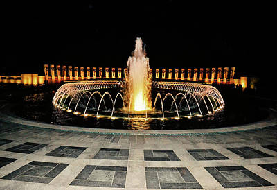 Photograph - World War II Memorial At Night 001 by George Bostian