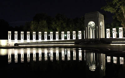 Photograph - World War II Memorial Night Reflections by Cora Wandel