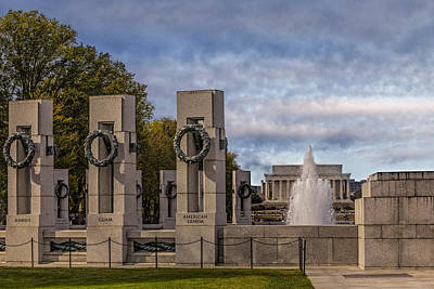 Washington Monument Photograph - World War II Memorial by Susan Candelario