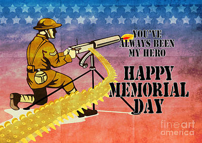 World War One Digital Art - World War One American Soldier Firing Machine Gun  by Aloysius Patrimonio