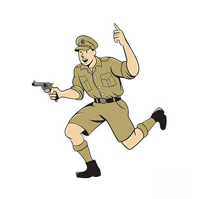 Www1 Digital Art - World War One British Officer Running Pistol Cartoon by Aloysius Patrimonio