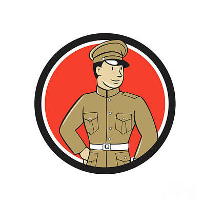 Www1 Digital Art - World War One British Officer Standing Circle Cartoon  by Aloysius Patrimonio