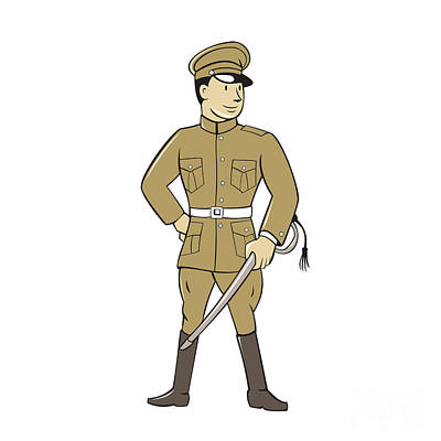 Www1 Digital Art - World War One British Officer Sword Standing Cartoon  by Aloysius Patrimonio