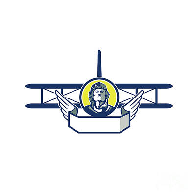 Bi Plane Digital Art - World War One Pilot Head Biplane Circle Retro by Aloysius Patrimonio