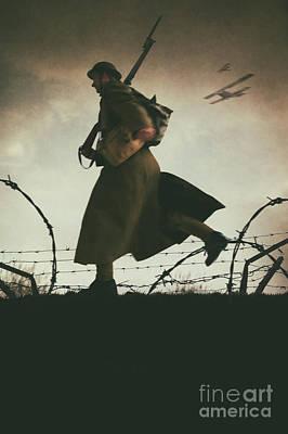 Photograph - World War One Soldier Running On The Battlefield by Lee Avison