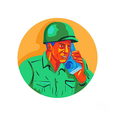 Soldier Field Digital Art - World War Two Soldier American Talk Radio Wpa by Aloysius Patrimonio