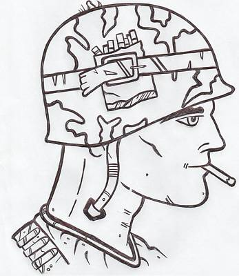 Solider Drawing - World War Two Solider by Lester Noss