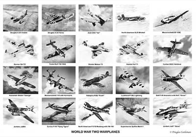 Drawing - World War Two Warplanes by Douglas Castleman