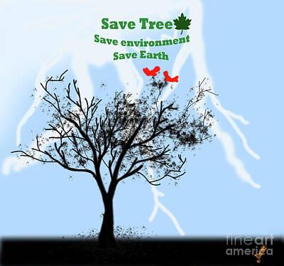 World With Tree Art Print by Artist Nandika Dutt