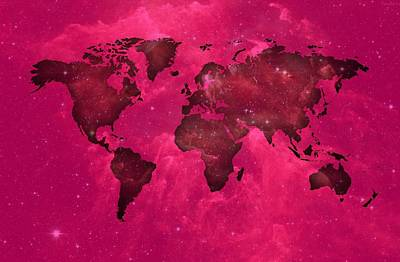 Contemporary Digital Art - Worldmap In Purple Space. by Alberto RuiZ