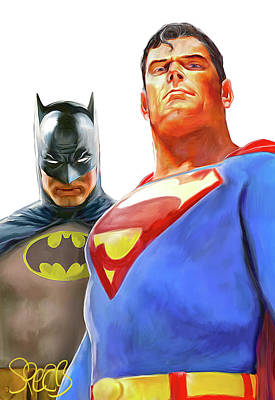 Comics Mixed Media - Worlds Finest - Superman and Batman by Mark Spears