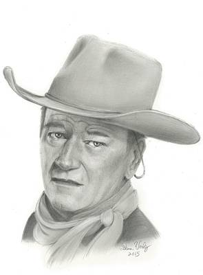 John Wayne Drawings Drawing - John Wayne Worlds Most Famous Cowboy by Dana Worley