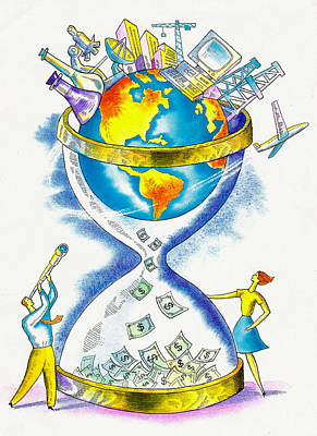 Worldwide Investing And Profit Art Print by Leon Zernitsky