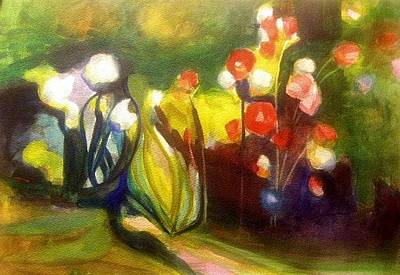 Painting - Warm Flowers In A Cool Garden by Nicolas Bouteneff
