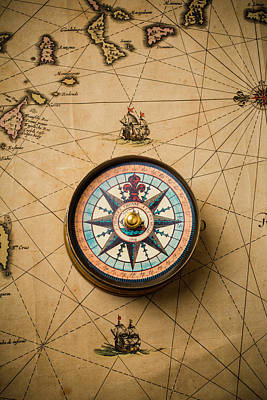 Antique Map Photograph - Worn Antique Map And Compass by Garry Gay