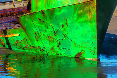 Worn Beached Green Fishing Boat Art Print by Garry Gay