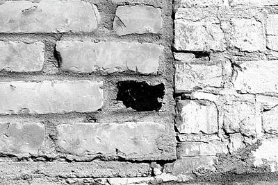 Photograph - Worn Brick Wall 5 Bw by Mary Bedy