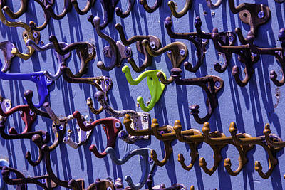Hardware Photograph - Worn Clothing Hooks by Garry Gay