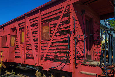 Peeling Painted Wood Wall Art - Photograph - Worn Decaying Boxcar by Garry Gay