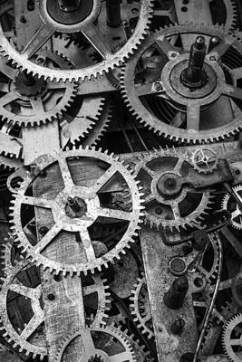 Gear Photograph - Worn Gears Black And White by Garry Gay