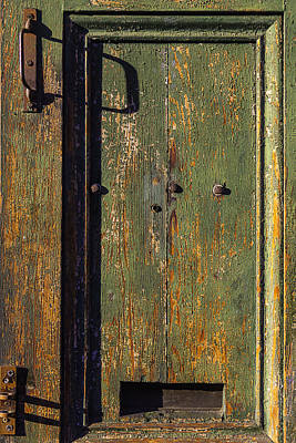 Chipping Paint Photograph - Worn Green Door by Garry Gay