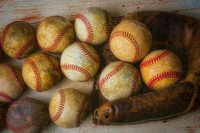 Photograph - Worn Mitt And Baseballs by Garry Gay