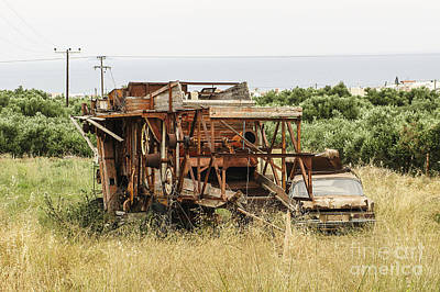 Worn Out Harvester And Car Art Print by Kim Lessel