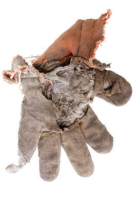 Torn Clothing Photograph - Worn Out Work Glove Isolated On White by Donald  Erickson