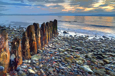 Pilings Painting - Worn Pilings On Rocky Shoreline by Elaine Plesser