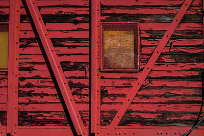 Peeling Painted Wood Wall Art - Photograph - Worn Red Box Car by Garry Gay