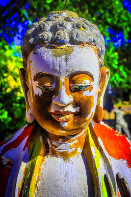 Peeling Painted Wood Wall Art - Photograph - Worn Wooden Buddha by Garry Gay