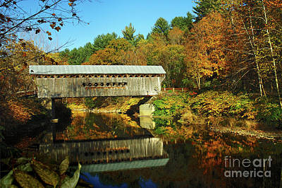 Country Scene Photograph - Worrall's Bridge Vermont - New England Fall Landscape Covered Bridge by Jon Holiday