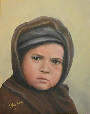 Ellis Island Painting - Worried Boy On Ellis Island by Sandra Nardone