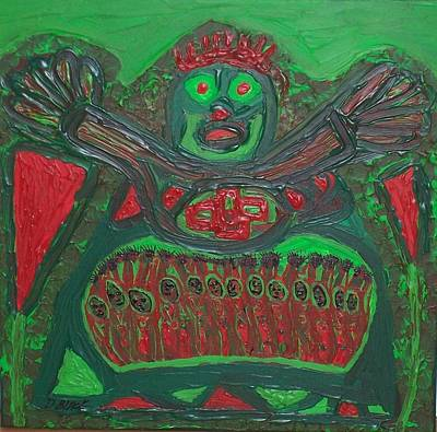 Mixed Media - Worship Of A Green Demigod by Darrell Black